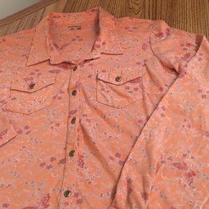 Ruff Hewn Button-Down Shirt Dk Peachy/Orange P-Lg